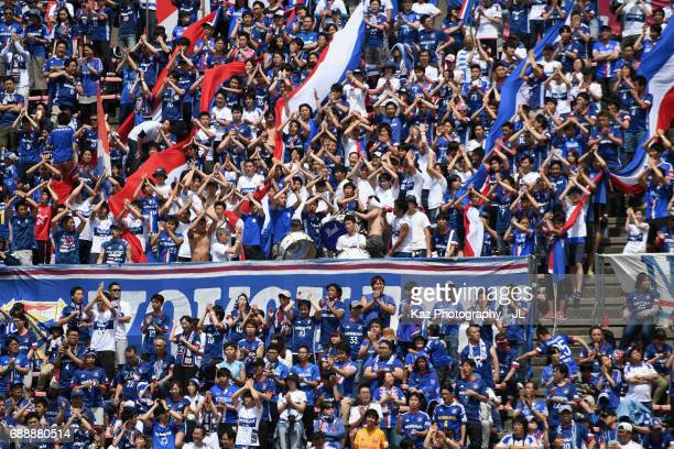 Yokohama FMarinos supporters cheer prior to the JLeague J1 match between Shimizu SPulse and Yokohama FMarinos at IAI Stadium Nihondaira on May 27...
