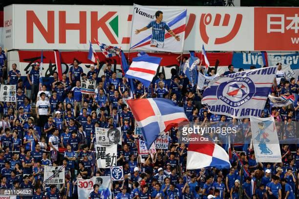 Yokohama FMarinos supporters cheers prior to the JLeague J1 match between Yokohama FMarinos and Sagan Tosu at Nippatsu Mitsuzawa Stadium on August 13...