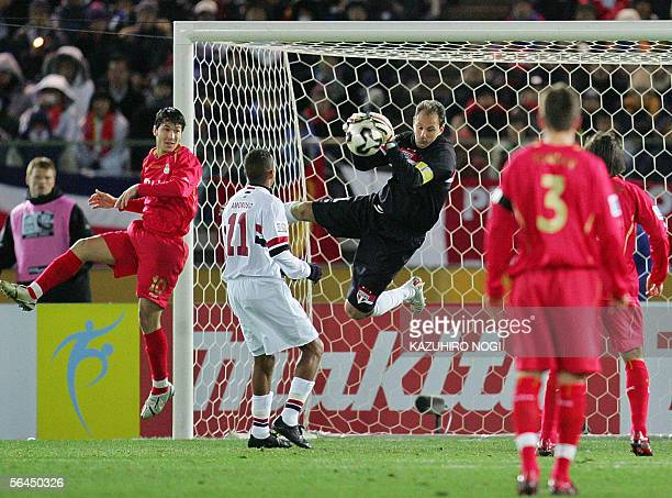Brazil's Sao Paulo FC goalkeeper Rogerio Ceni catches the ball during the final match against England's Liverpool FC at the FIFA Club World...