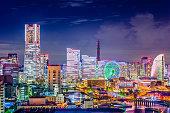 Yokohama, Japan skyline at night.