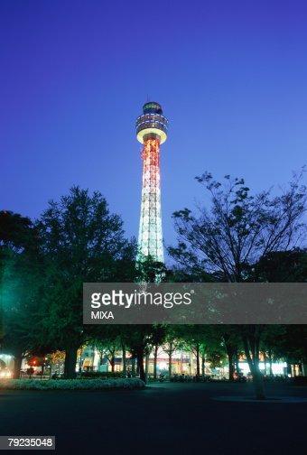 Yokohama Marine Tower at Night, Japan : Stock Photo