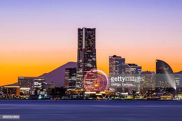 Yokohama Minato Mirai 21 and Mt Fuji