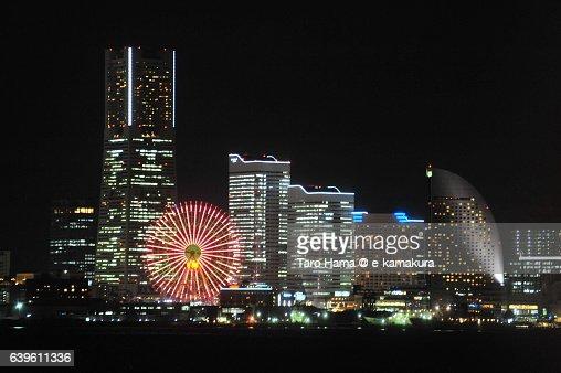 Yokohama Minatomirai city night view from ship