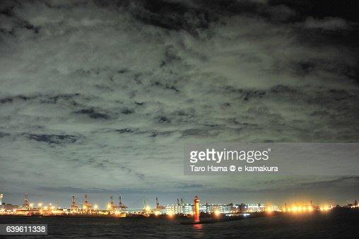 Yokohama port night view from ship : ストックフォト