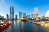 Yokohama skyline and Cityscape of Yokohama city at sunset, Japan.