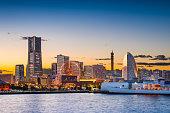 Yokohama, Japan sunset skyline.