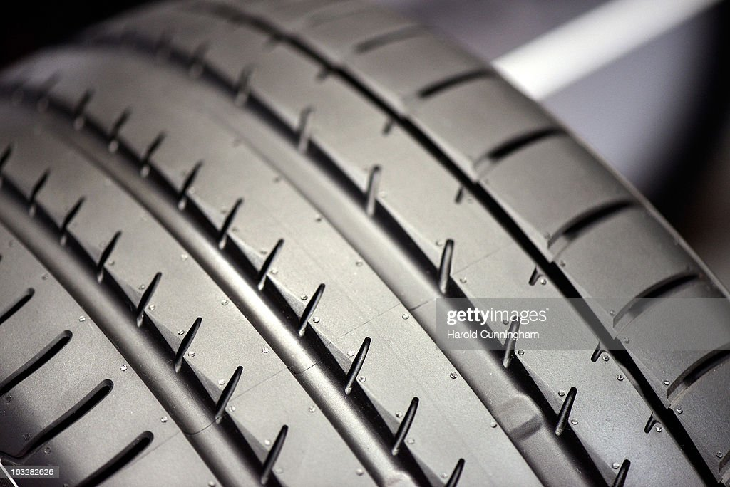 A Yokohama tyre is seen during the 83rd Geneva Motor Show on March 6, 2013 in Geneva, Switzerland. Held annually with more than 130 product premiers from the auto industry unveiled this year, the Geneva Motor Show is one of the world's five most important auto shows.