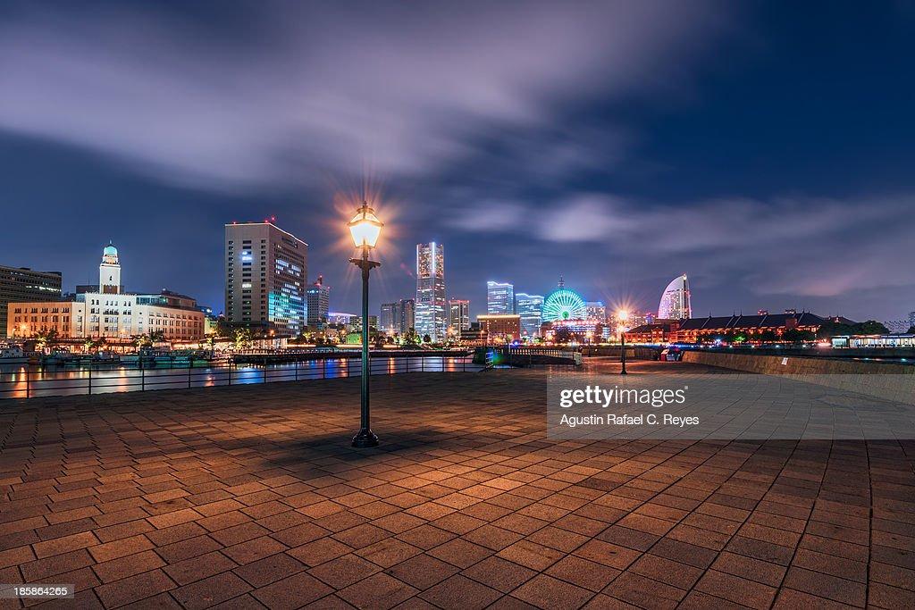 Yokohama's famous landmarks at night