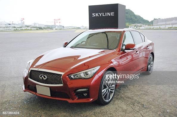 Yokosuka Japan Nissan Motor Co introduces the New Skyline 200GTt at the Oppama factory in Yokosuka Kanagawa Prefecture on May 26 2014 The car will go...