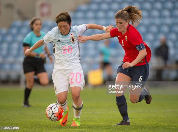Yokoyama Kumi of Japan and Maren Mjelde of Norway during the Group B 2017 Algarve Cup match between Norway and Japan at the Estadio Algarve on March...