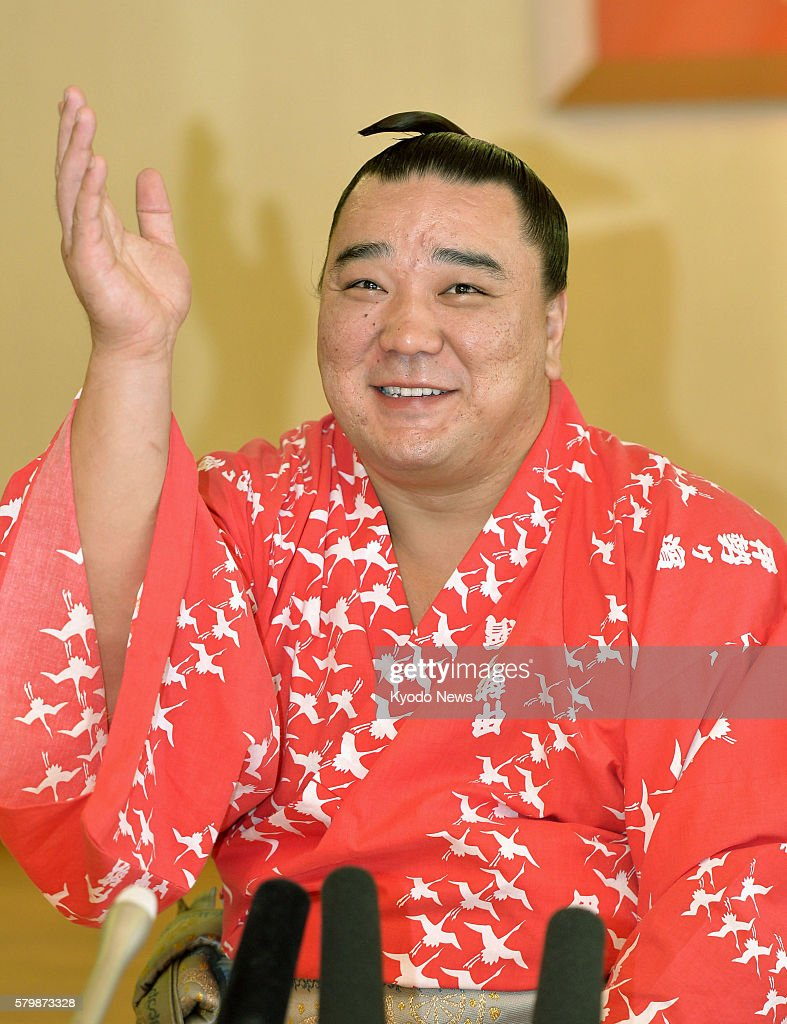 Yokozuna Harumafuji of Mongolia holds a press conference at the lodging of the Isegahama stable in Nagoya on July 25 a day after winning the 15day...