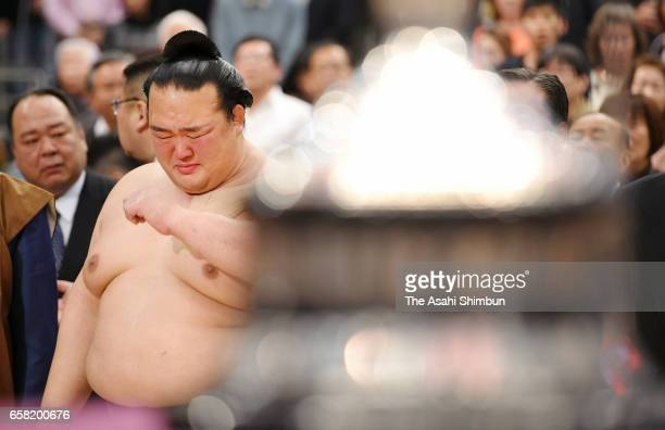 Yokozuna Kisenosato sheds tears with joy after winning the tournament during day fifteen of the Grand Sumo Spring Tournament at Edion Arena Osaka on...