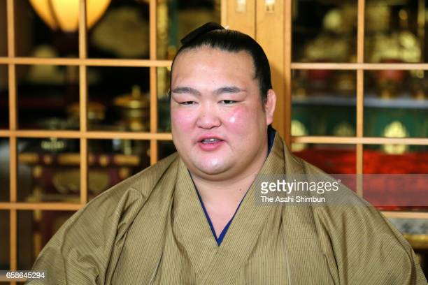 Yokozuna Kisenosato speaks during a press conference a day after winning the Grand Sumo Spring Tournament on March 27 2017 in Osaka Japan