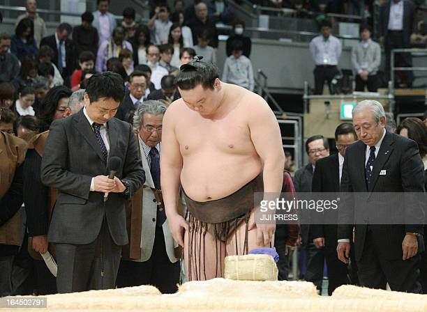 'Yokozuna' or grand champion Hakuho of Mongolia joins the audience to offer a silent prayer for late sumo great the 'yokozuna' Taiho who past away on...