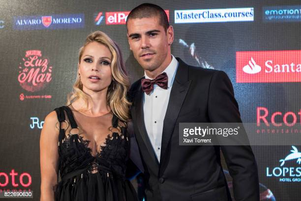 Yolanda Cardona and Victor Valdes attend the photocall of the 'Miguel Poveda Amigos' Gala at Gran Teatre del Liceu on July 25 2017 in Barcelona Spain