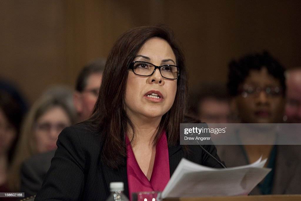 Yolanda Chavez, Deputy Assistant Secretary for Grant Programs for the U.S. Department of Housing and Urban Development, speaks at the Senate Committee on Banking, Housing, and Urban Affairs Subcommittee on Housing, Transportation and Community Development hearing on 'Recovering From Superstorm Sandy: Rebuilding our Housing and Transportation Infrastructure' on Capitol Hill, December 20, 2012 in Washington, DC. The hearing focused on how the storm affected infrastructure in the Northeast and how to better prepare for future situations.