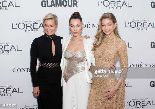 Yolanda Foster Bella Hadid and Gigi Hadid attend the 2017 Glamour Women of The Year Awards at Kings Theatre on November 13 2017 in New York City