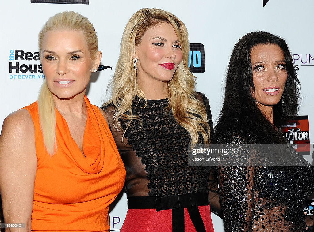 Yolanda H. Foster, Brandi Glanville and Carlton Gebbia attend the 'The Real Housewives of Beverly Hills' and 'Vanderpump Rules' premiere party at Boulevard3 on October 23, 2013 in Hollywood, California.