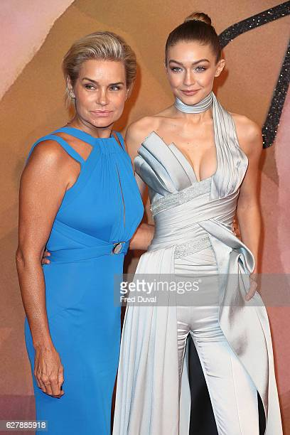 Yolanda Hadid and Gigi Hadid arrive at the Fashion Awards 2016 on December 5 2016 in London United Kingdom