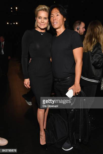 Yolanda Hadid and Stephen Gan attend Desigual fashion show during New York Fashion Week The Shows at Gallery 1 Skylight Clarkson Sq on September 7...