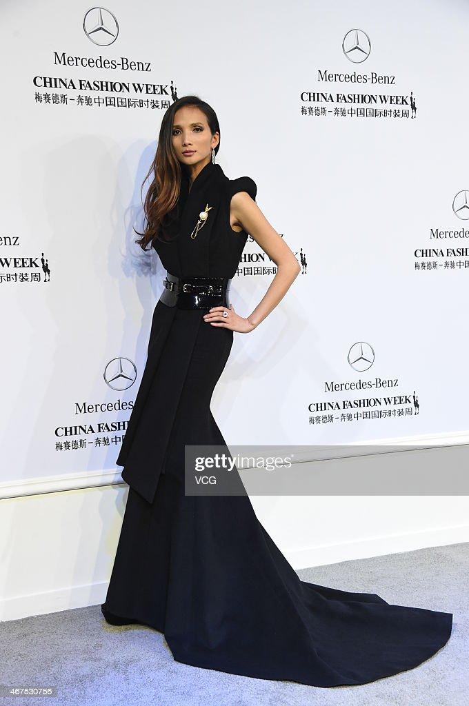 Yolanda Huang model and founder of Miss Yolanda shows at the Sheguang Hu show during the MercedesBenz China Fashion Week 2015 Autumn/Winter...