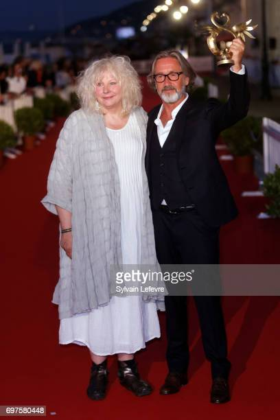Yolande Moreau and Martin Provost attend the Winners' Red Carpet after the closing ceremony of 31st Cabourg Film Festival on June 17 2017 in Cabourg...