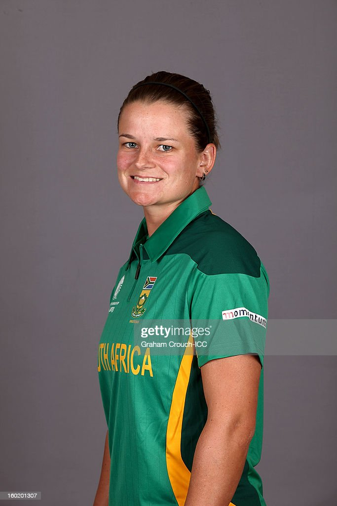 Yolandi Potgieter of South Africa poses at a portrait session ahead of the ICC Womens World Cup 2013 at the Taj Mahal Palace Hotel on January 27, 2013 in Mumbai, India.
