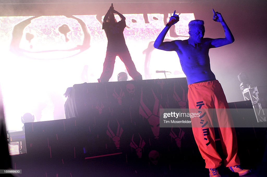 Yo-Landi Vi$$er (L) and Ninja of Die Antwoord perform as part of Sonar on Tour at the Fox Theater on November 9, 2012 in Oakland, California.