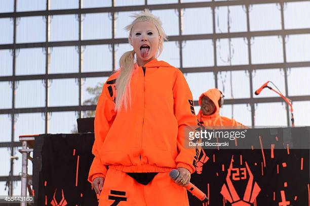 YoLandi Vi$$er of Die Antwoord performs on stage at Riot Fest Chicago 2014 at Humboldt Park on September 13 2014 in Chicago United States