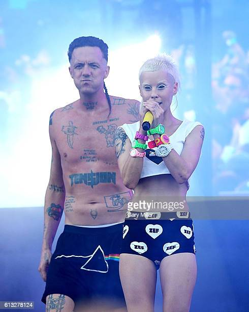 AUSTIN TEXAS AUSTIN TX October 07 Yolandi Visser and Ninja of Die Antwoord perform in concert during the Austin City Limits Music Festival at Zilker...