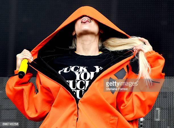 Yolandi Visser of Die Antwoord perfoms at Leeds Festival at Bramham Park on August 27 2016 in Leeds England