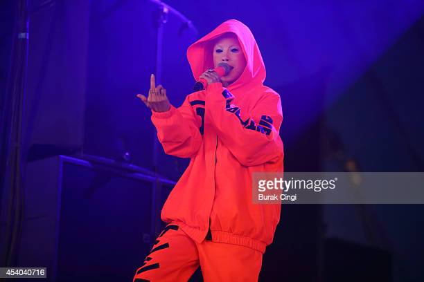 YoLandi Visser of Die Antwoord performs on stage at Reading Festival at Richfield Avenue on August 23 2014 in Reading United Kingdom
