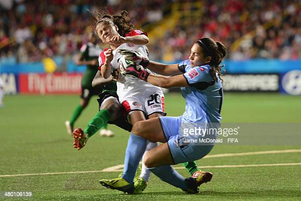 Yolian Salas of Costa Rica saves from Grace Chander of Zambia during the FIFA U17 Women's World Cup Group A match between Zambia and Costa Rica at...
