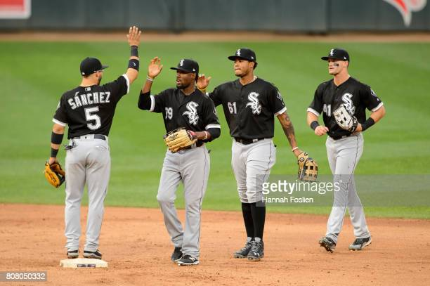 Yolmer Sanchez Alen Hanson Willy Garcia and Adam Engel of the Chicago White Sox celebrate winning the game against the Minnesota Twins on June 22...