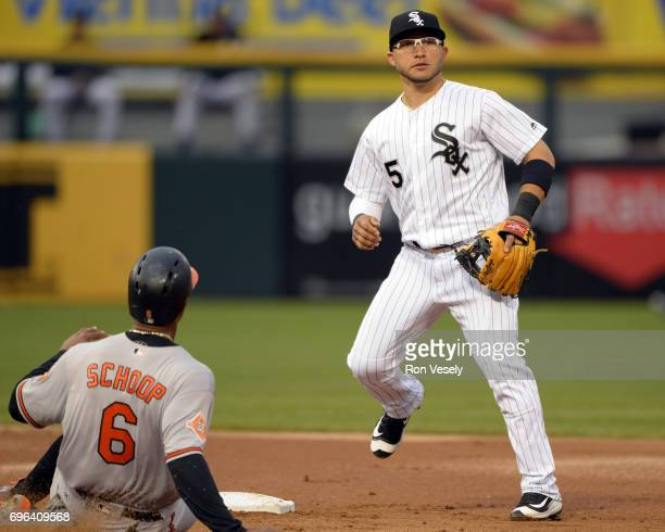 Yolmer Sanchez of the Chicago White Sox fields against the Baltimore Orioles on June 13 2017 at Guaranteed Rate Field in Chicago Illinois