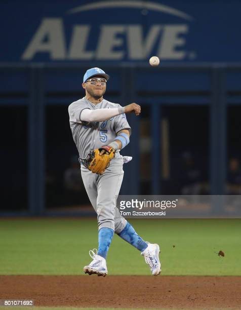 Yolmer Sanchez of the Chicago White Sox makes the play and throws out the baserunner in the seventh inning during MLB game action against the Toronto...