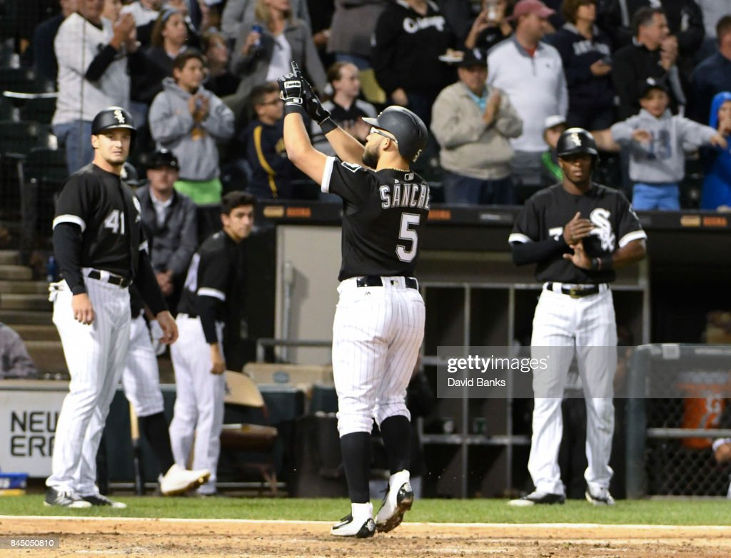 Yolmer Sanchez #5 of the Chicago White Sox reacts as he crosses home plate after hitting a three-run homer against the San Francisco Giants during the fourth inning on September 9, 2017 at Guaranteed Rate Field in Chicago, Illinois.