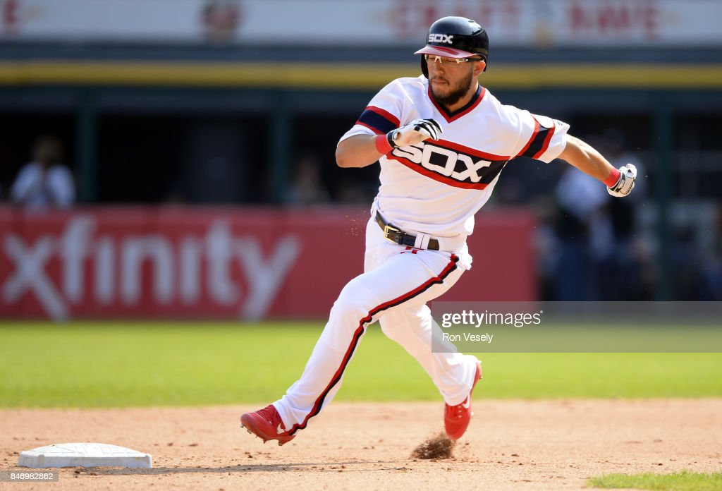 Yolmer Sanchez #5 of the Chicago White Sox runs the bases against the San Francisco Giants on September 10, 2017 at Guaranteed Rate Field in Chicago, Illinois. The White Sox defeated the Giants 8-1.