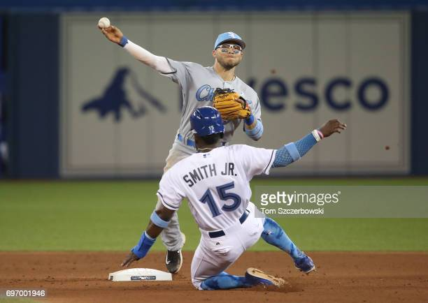 Yolmer Sanchez of the Chicago White Sox turns a double play in the seventh inning during MLB game action as Dwight Smith Jr #15 of the Toronto Blue...