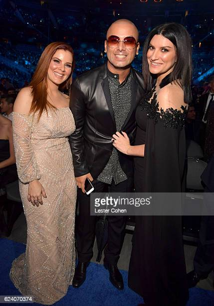 Yomaira Orti and recording artists Wisin and Laura Pausini attend The 17th Annual Latin Grammy Awards at TMobile Arena on November 17 2016 in Las...