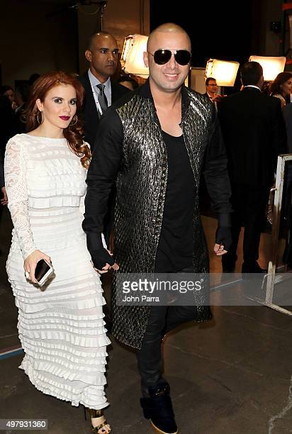 Yomaira Ortiz Feliciano and recoridng artist Wisin attend the 16th Latin GRAMMY Awards at the MGM Grand Garden Arena on November 19 2015 in Las Vegas...