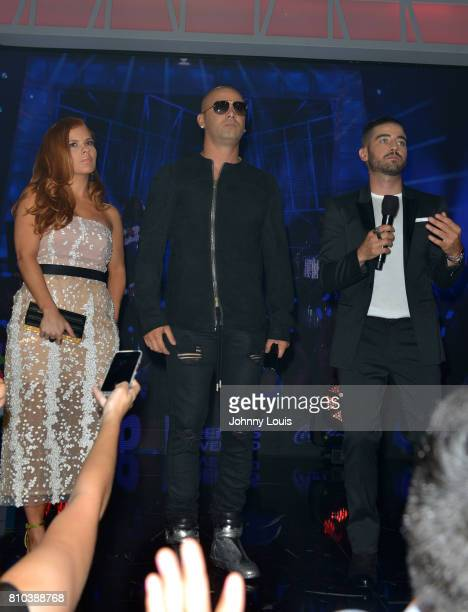 Yomaira Ortiz Feliciano Wisin and Borja Voces atten the Univision's 'Premios Juventud' 017 Celebrates The Hottest Musical Artists And Young Latinos...