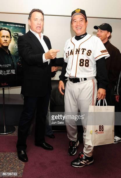Yomiuri Giants coach Tatsunori Hara and actor Tom Hanks meet press at the reception room during professional baseball match between Yomiuri Giants...