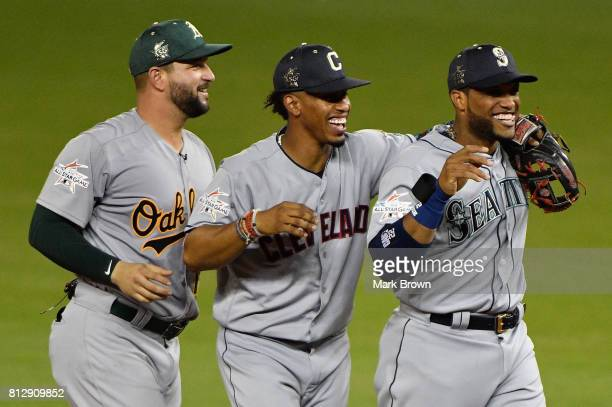 Yonder Alonso of the Oakland Athletics and the American League Robinson Cano of the Seattle Mariners and the American League and Francisco Lindor of...