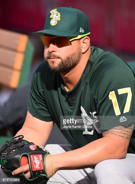 Yonder Alonso of the Oakland Athletics before the game against the Los Angeles Angels at Angel Stadium of Anaheim on April 25 2017 in Anaheim...