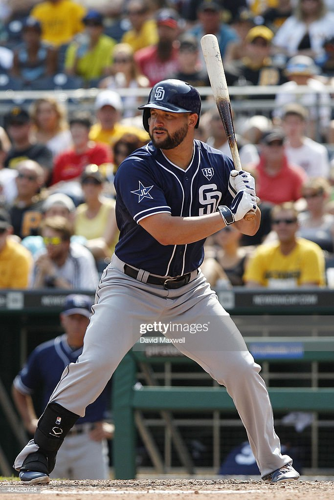 Yonder Alonso of the San Diego Padres bats against the Pittsburgh Pirates during the seventh inning of their game on August 10 2014 at PNC Park in...