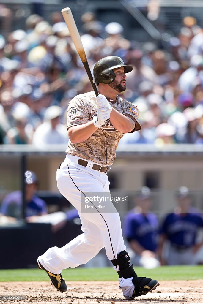 Yonder Alonso of the San Diego Padres bats during the game against the Colorado Rockies at Petco Park on Sunday May 3 2015 in San Diego California