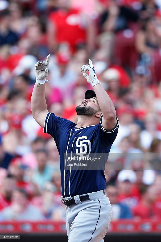 Yonder Alonso of the San Diego Padres celebrates after his grand slam home run which tied the game in the seventh inning against the Cincinnati Reds...