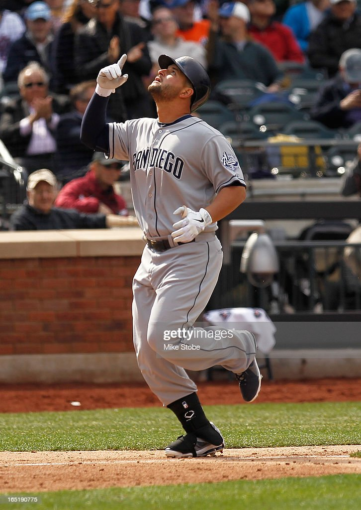 <a gi-track='captionPersonalityLinkClicked' href=/galleries/search?phrase=Yonder+Alonso&family=editorial&specificpeople=4424898 ng-click='$event.stopPropagation()'>Yonder Alonso</a> #23 of the San Diego Padres celebrates after hitting a solo home run in the sixth inning against the New York Mets on opening day at Citi Field on April 1, 2013 in the Flushing neighborhood of the Queens borough of New York City.