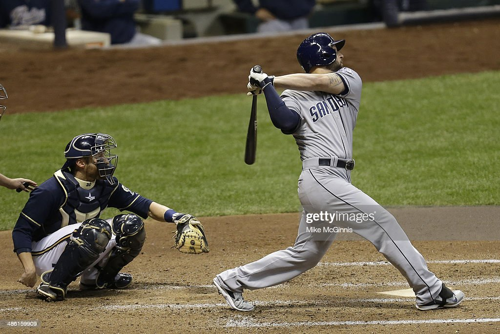 <a gi-track='captionPersonalityLinkClicked' href=/galleries/search?phrase=Yonder+Alonso&family=editorial&specificpeople=4424898 ng-click='$event.stopPropagation()'>Yonder Alonso</a> #23 of the San Diego Padres hits a double in the top fifth inning against the Milwaukee Brewers at Miller Park on April 22, 2014 in Milwaukee, Wisconsin.